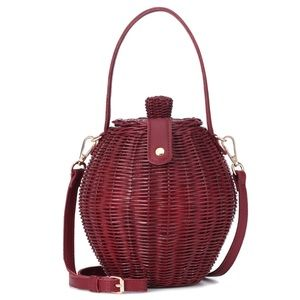 ULLA JOHNSON Tautou Leather-Trim Wicker Bag NWOT